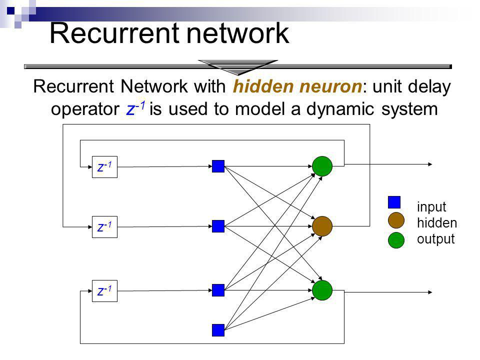 Recurrent Network with hidden neuron: unit delay operator z -1 is used to model a dynamic system z -1 Recurrent network input hidden output
