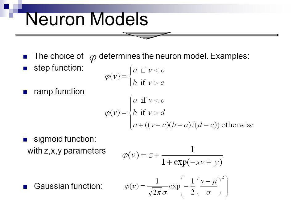 Neuron Models The choice of determines the neuron model. Examples: step function: ramp function: sigmoid function: with z,x,y parameters Gaussian func