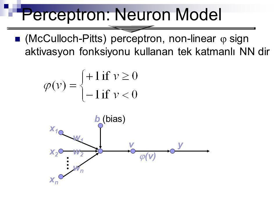 Perceptron: Neuron Model (McCulloch-Pitts) perceptron, non-linear  sign aktivasyon fonksiyonu kullanan tek katmanlı NN dir x1x1 x2x2 xnxn w2w2 w1w1 wnwn b (bias) vy  (v)