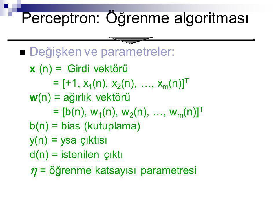 Perceptron: Öğrenme algoritması Değişken ve parametreler: x (n) = Girdi vektörü = [+1, x 1 (n), x 2 (n), …, x m (n)] T w(n) = ağırlık vektörü = [b(n), w 1 (n), w 2 (n), …, w m (n)] T b(n) = bias (kutuplama) y(n) = ysa çıktısı d(n) = istenilen çıktı  = öğrenme katsayısı parametresi