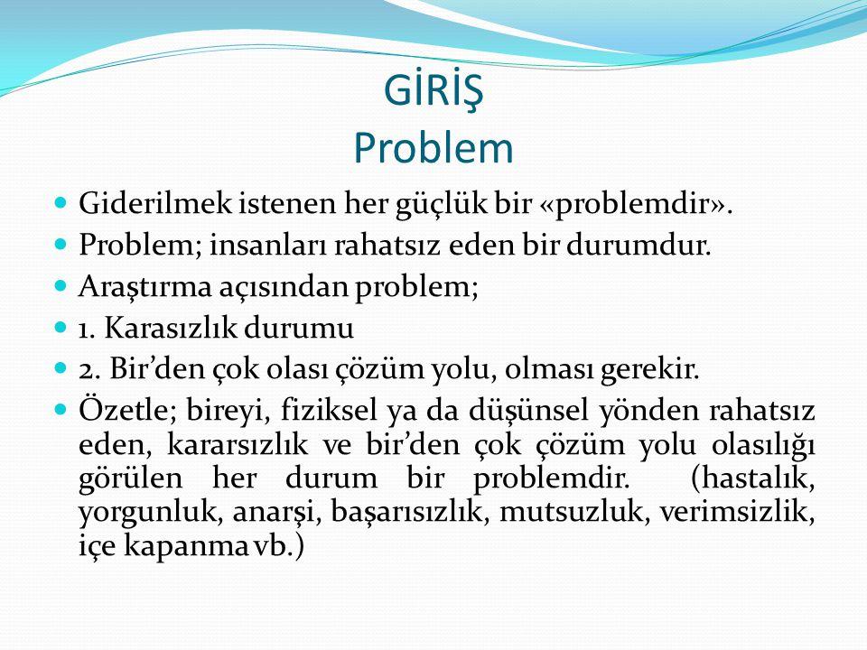 GİRİŞ Problem Giderilmek istenen her güçlük bir «problemdir». Problem; insanları rahatsız eden bir durumdur. Araştırma açısından problem; 1. Karasızlı