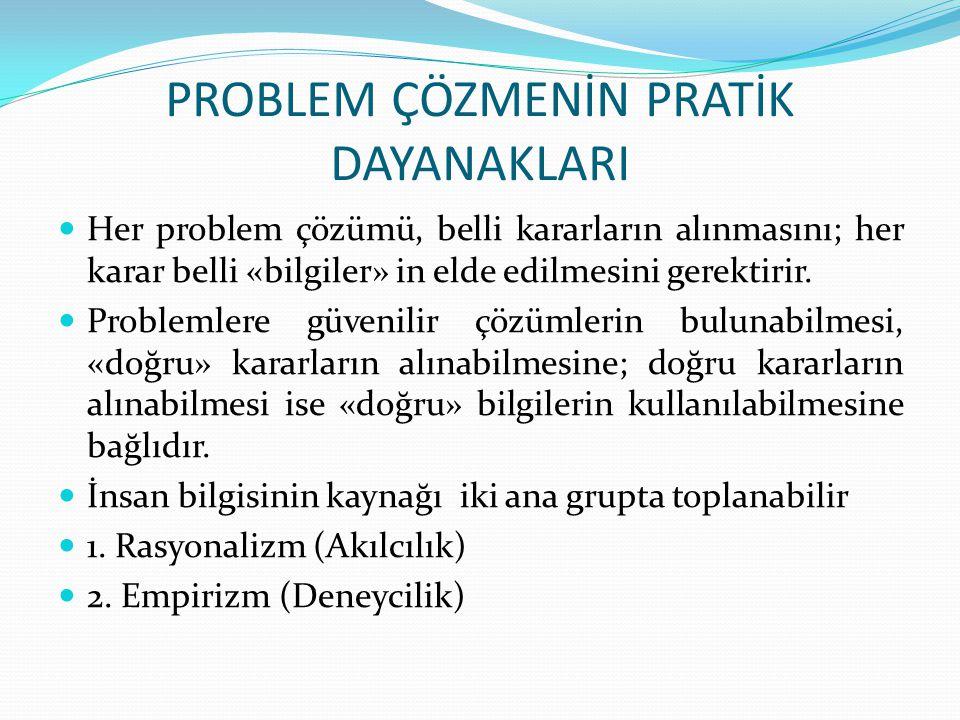 PROBLEM ÇÖZMENİN PRATİK DAYANAKLARI Her problem çözümü, belli kararların alınmasını; her karar belli «bilgiler» in elde edilmesini gerektirir. Problem