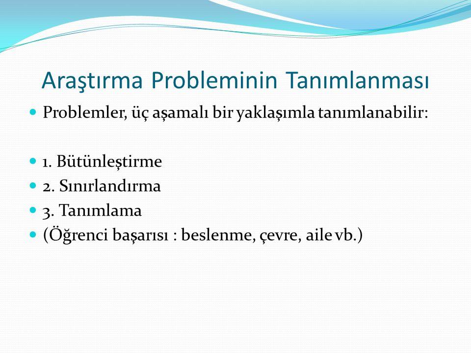 Araştırma Probleminin Tanımlanması Problemler, üç aşamalı bir yaklaşımla tanımlanabilir: 1. Bütünleştirme 2. Sınırlandırma 3. Tanımlama (Öğrenci başar