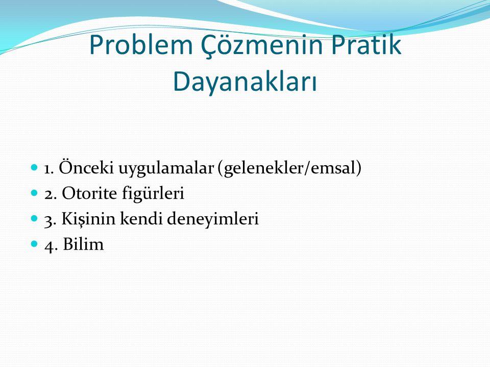 Problem Çözmenin Pratik Dayanakları 1. Önceki uygulamalar (gelenekler/emsal) 2. Otorite figürleri 3. Kişinin kendi deneyimleri 4. Bilim