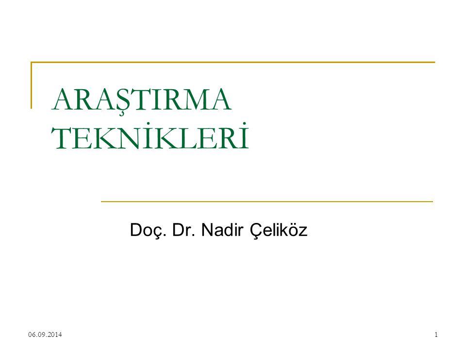 06.09.20141 ARAŞTIRMA TEKNİKLERİ Doç. Dr. Nadir Çeliköz