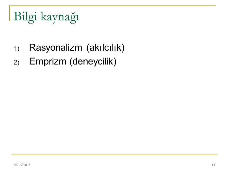 06.09.201411 Bilgi kaynağı 1) Rasyonalizm (akılcılık) 2) Emprizm (deneycilik)