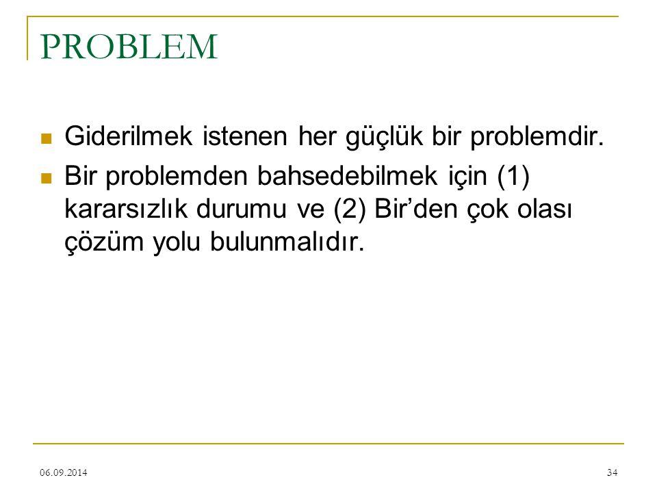 06.09.201434 PROBLEM Giderilmek istenen her güçlük bir problemdir. Bir problemden bahsedebilmek için (1) kararsızlık durumu ve (2) Bir'den çok olası ç