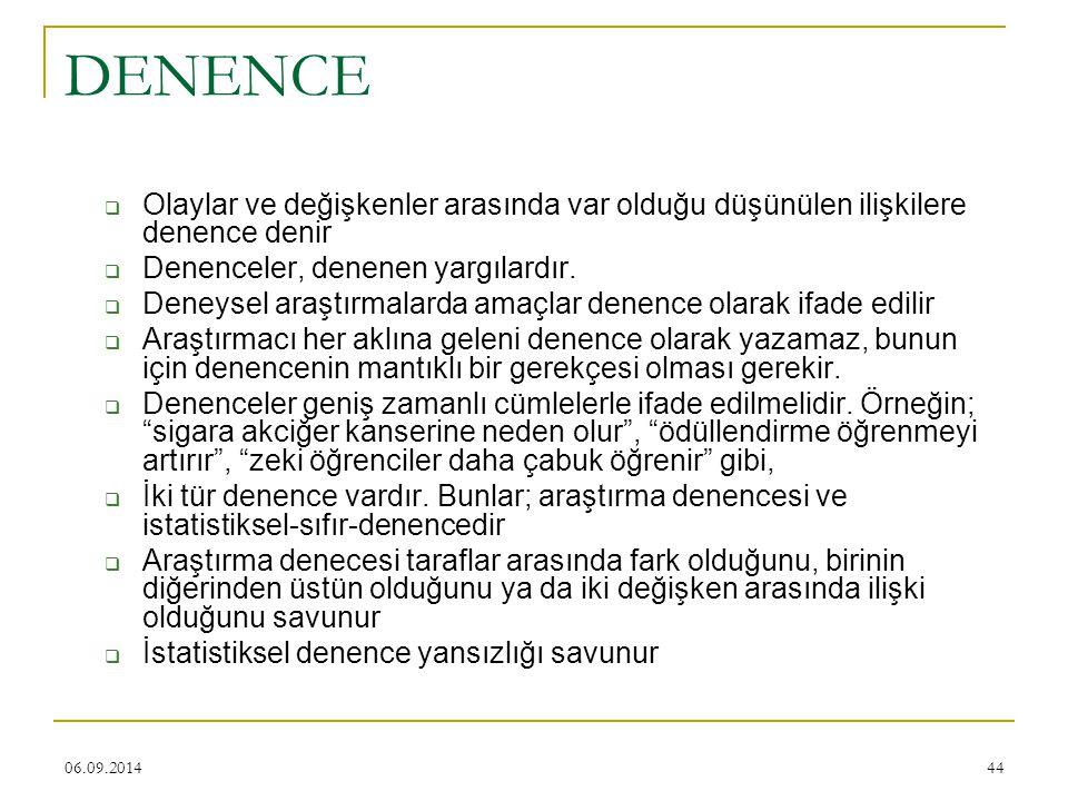 06.09.201444 DENENCE  Olaylar ve değişkenler arasında var olduğu düşünülen ilişkilere denence denir  Denenceler, denenen yargılardır.  Deneysel ara