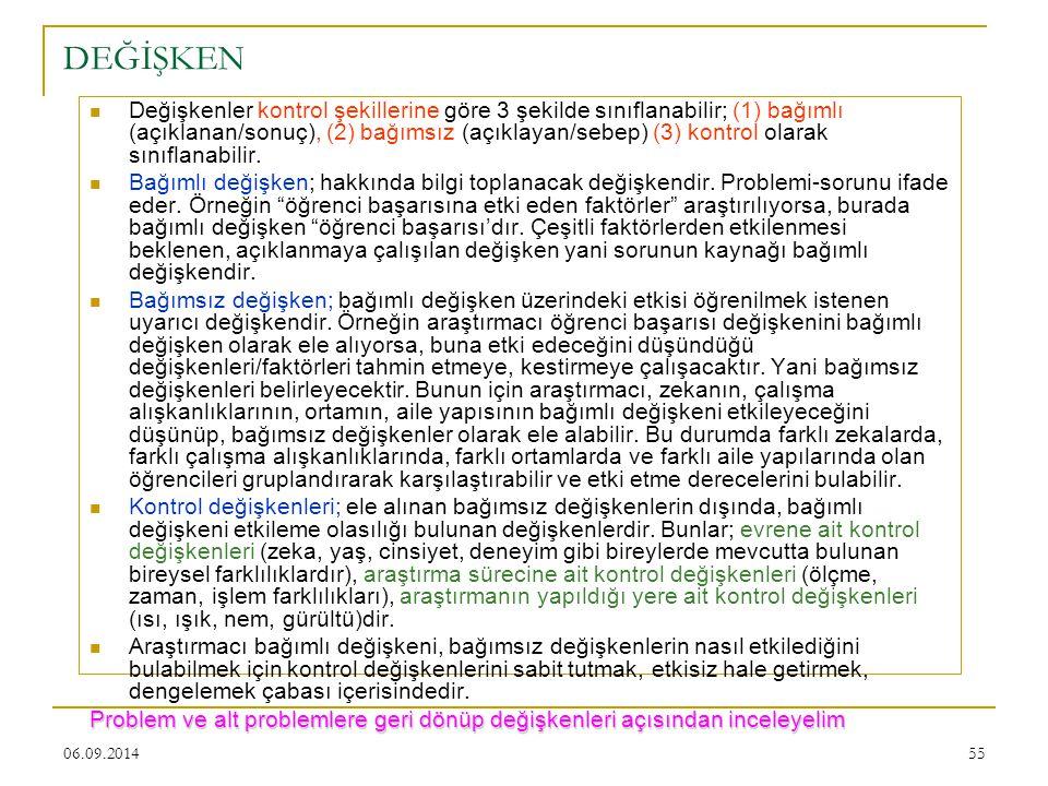 06.09.201455 DEĞİŞKEN Değişkenler kontrol şekillerine göre 3 şekilde sınıflanabilir; (1) bağımlı (açıklanan/sonuç), (2) bağımsız (açıklayan/sebep) (3)