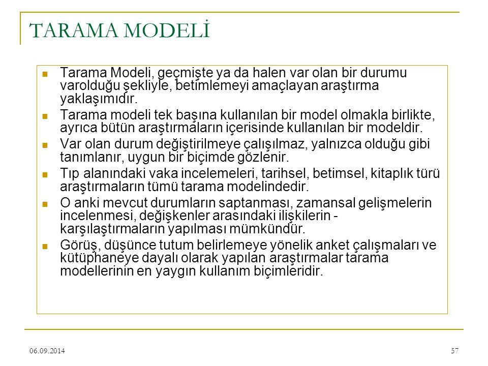 06.09.201457 TARAMA MODELİ Tarama Modeli, geçmişte ya da halen var olan bir durumu varolduğu şekliyle, betimlemeyi amaçlayan araştırma yaklaşımıdır. T