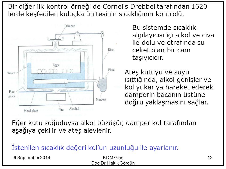 6 September 2014KOM Giriş Doç.Dr. Haluk Görgün 12 Bir diğer ilk kontrol örneği de Cornelis Drebbel tarafından 1620 lerde keşfedilen kuluçka ünitesinin