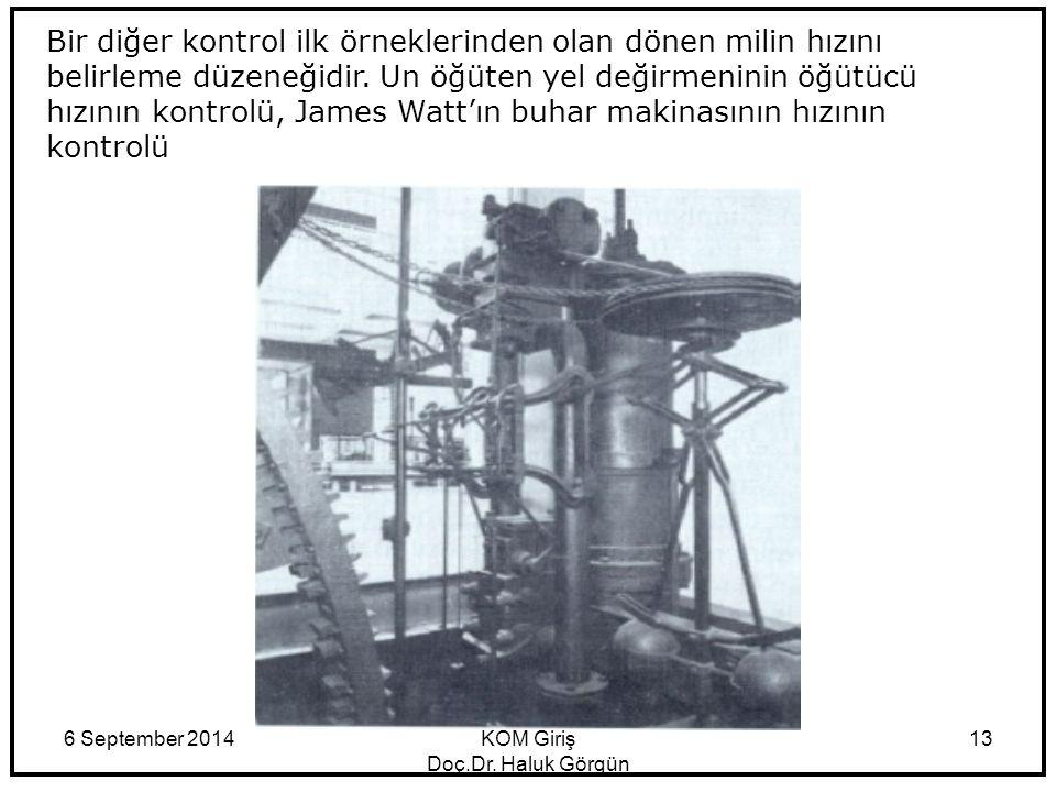 6 September 2014KOM Giriş Doç.Dr. Haluk Görgün 13 Bir diğer kontrol ilk örneklerinden olan dönen milin hızını belirleme düzeneğidir. Un öğüten yel değ