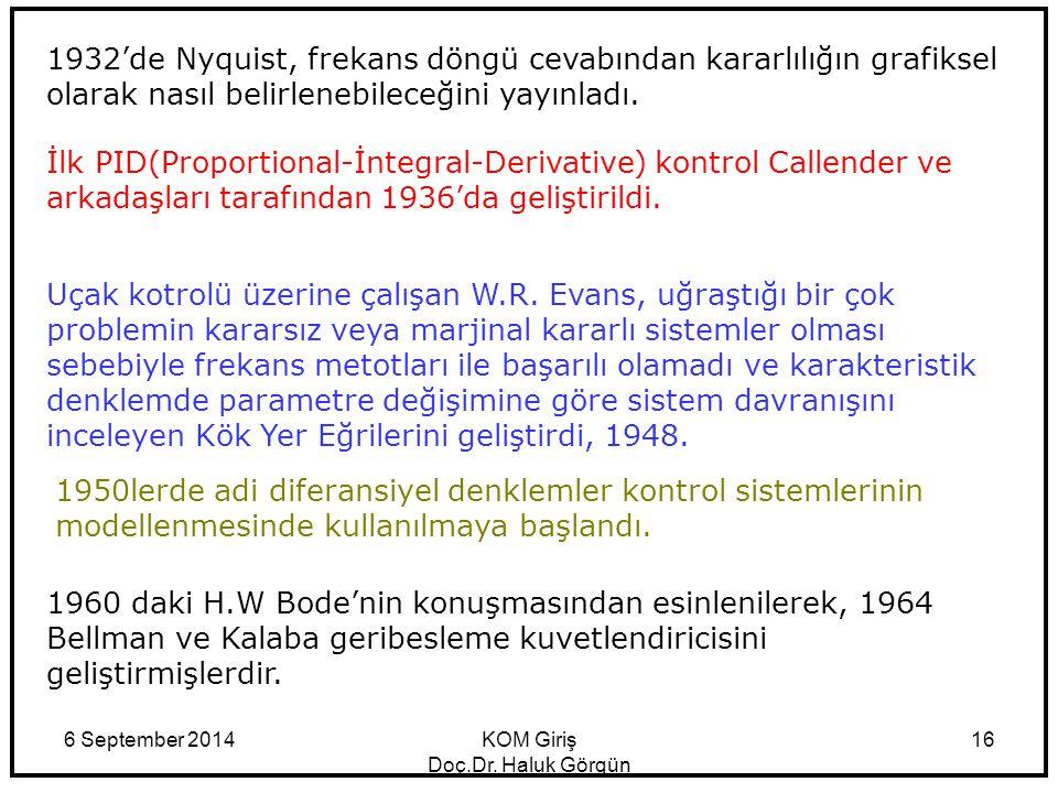 6 September 2014KOM Giriş Doç.Dr. Haluk Görgün 16 1932'de Nyquist, frekans döngü cevabından kararlılığın grafiksel olarak nasıl belirlenebileceğini ya