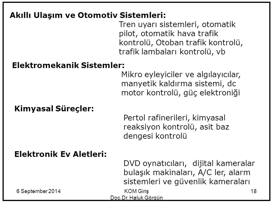 6 September 2014KOM Giriş Doç.Dr. Haluk Görgün 18 Akıllı Ulaşım ve Otomotiv Sistemleri: Tren uyarı sistemleri, otomatik pilot, otomatik hava trafik ko