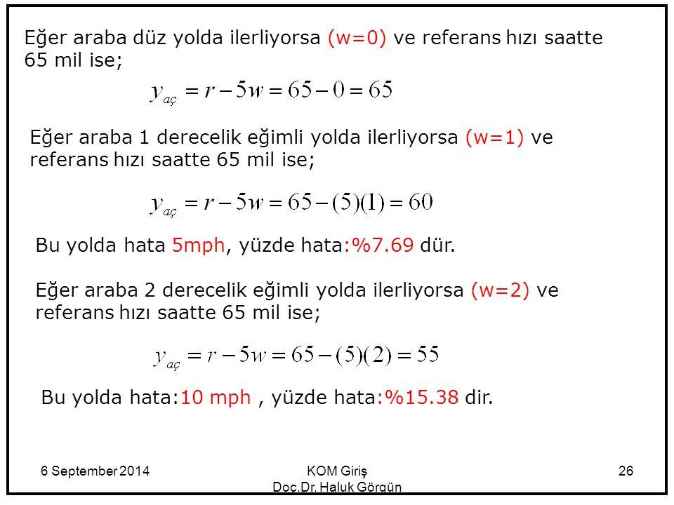 6 September 2014KOM Giriş Doç.Dr. Haluk Görgün 26 Eğer araba düz yolda ilerliyorsa (w=0) ve referans hızı saatte 65 mil ise; Eğer araba 1 derecelik eğ