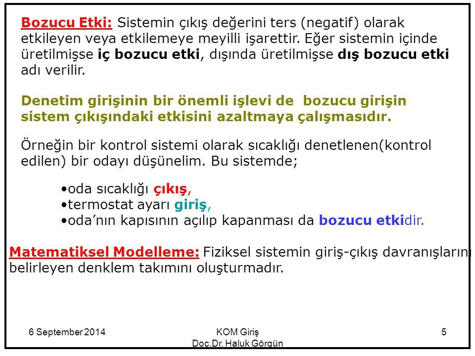 6 September 2014KOM Giriş Doç.Dr. Haluk Görgün 5 Matematiksel Modelleme: Fiziksel sistemin giriş-çıkış davranışlarını belirleyen denklem takımını oluş