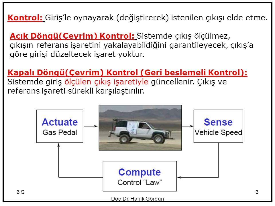 6 September 2014KOM Giriş Doç.Dr. Haluk Görgün 6 Kontrol: Giriş'le oynayarak (değiştirerek) istenilen çıkışı elde etme. Açık Döngü(Çevrim) Kontrol: Si