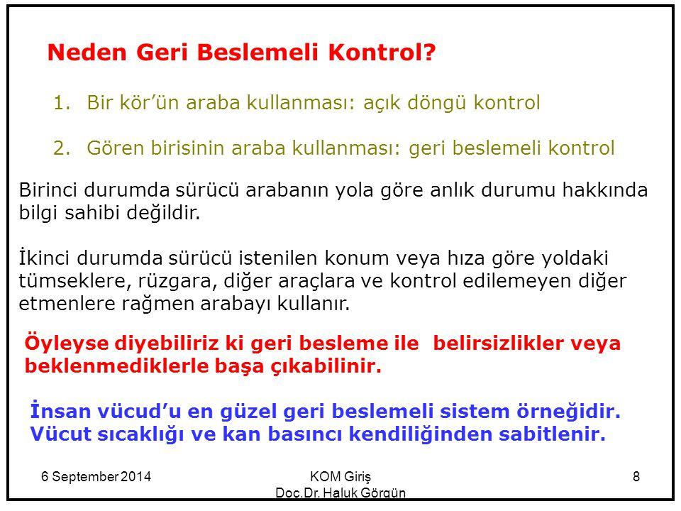 6 September 2014KOM Giriş Doç.Dr. Haluk Görgün 8 Neden Geri Beslemeli Kontrol? 1.Bir kör'ün araba kullanması: açık döngü kontrol 2.Gören birisinin ara