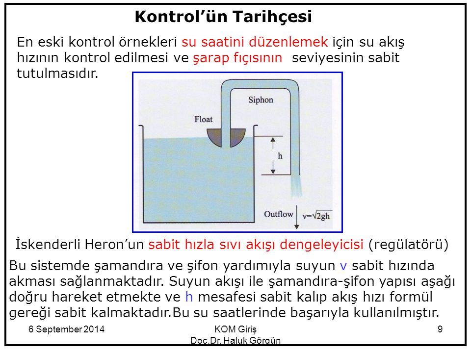 6 September 2014KOM Giriş Doç.Dr. Haluk Görgün 9 Kontrol'ün Tarihçesi En eski kontrol örnekleri su saatini düzenlemek için su akış hızının kontrol edi