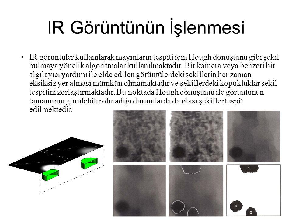 IR Görüntünün İşlenmesi IR görüntüler kullanılarak mayınların tespiti için Hough dönüşümü gibi şekil bulmaya yönelik algoritmalar kullanılmaktadır.