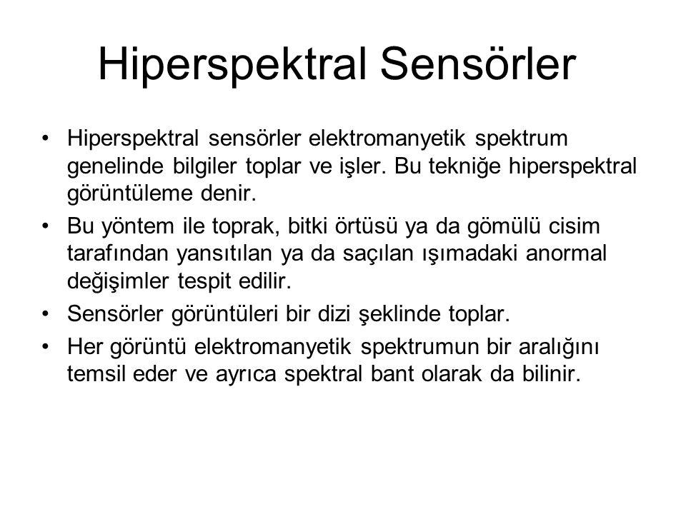 Hiperspektral Sensörler Hiperspektral sensörler elektromanyetik spektrum genelinde bilgiler toplar ve işler.