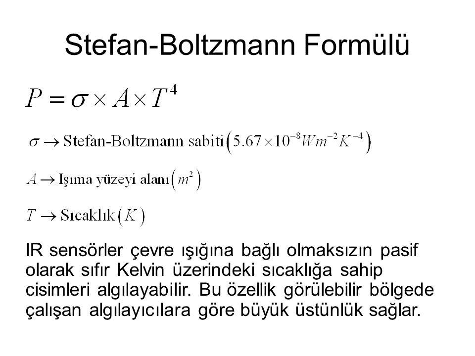 Stefan-Boltzmann Formülü IR sensörler çevre ışığına bağlı olmaksızın pasif olarak sıfır Kelvin üzerindeki sıcaklığa sahip cisimleri algılayabilir.