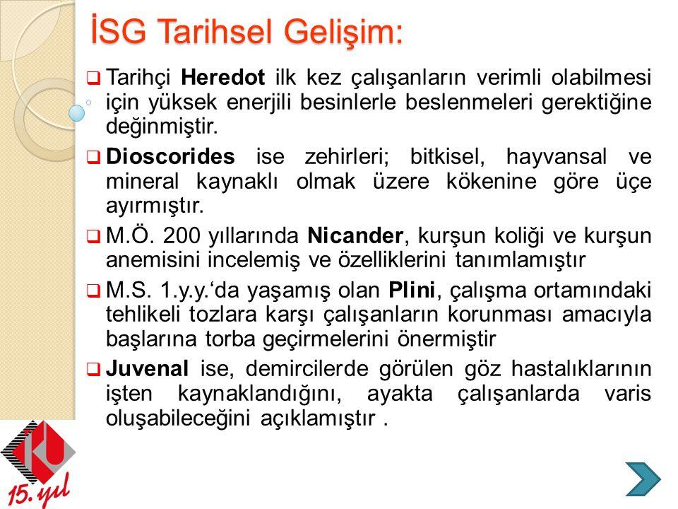 Türkiye'de İSG Kavramının Tarihi Gelişimi (TBMM ve Cumhuriyet Dönemi)  2003 tarihli 4857 sayılı İş Kanunu , ülkemizin çalışma mevzuatını karşılamak üzere tasarlanıp yürürlüğe konmuştur.