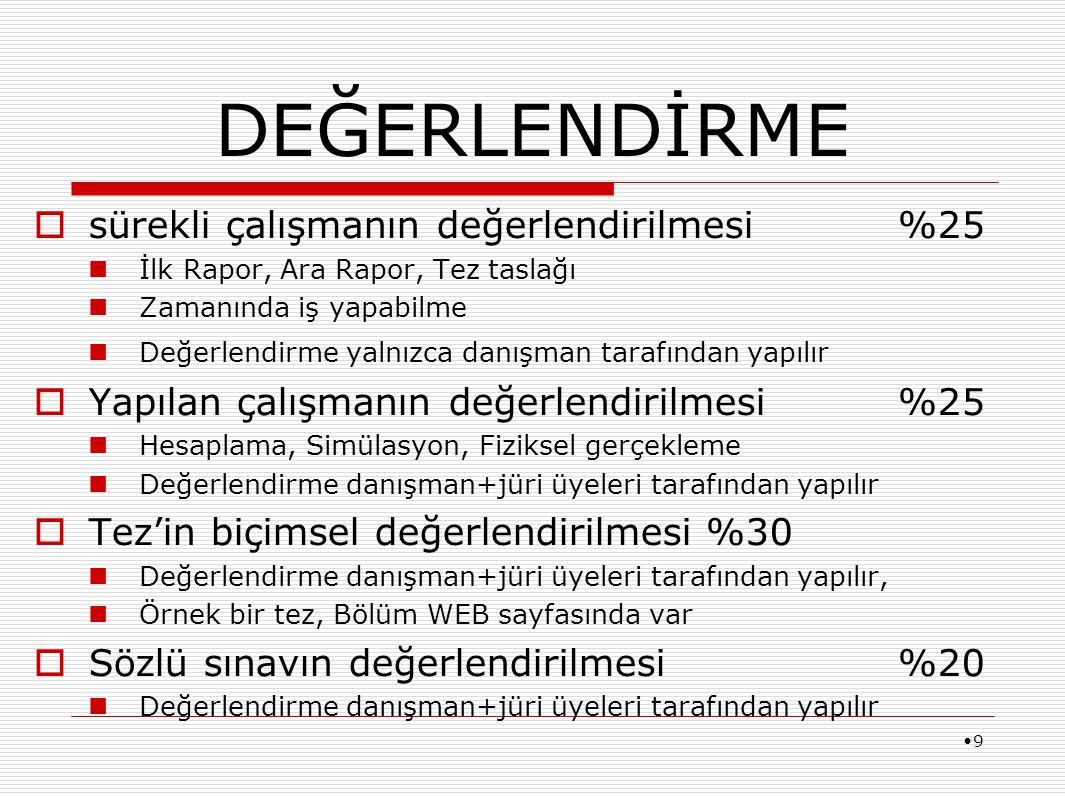 10 Bitirme çalışmasının dili Türkçe'dir.