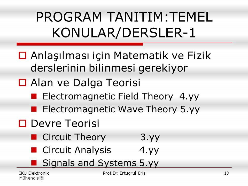 PROGRAM TANITIM:TEMEL KONULAR/DERSLER-1  Anlaşılması için Matematik ve Fizik derslerinin bilinmesi gerekiyor  Alan ve Dalga Teorisi Electromagnetic Field Theory 4.yy Electromagnetic Wave Theory 5.yy  Devre Teorisi Circuit Theory 3.yy Circuit Analysis 4.yy Signals and Systems 5.yy İKU Elektronik Mühendisliği 10Prof.Dr.
