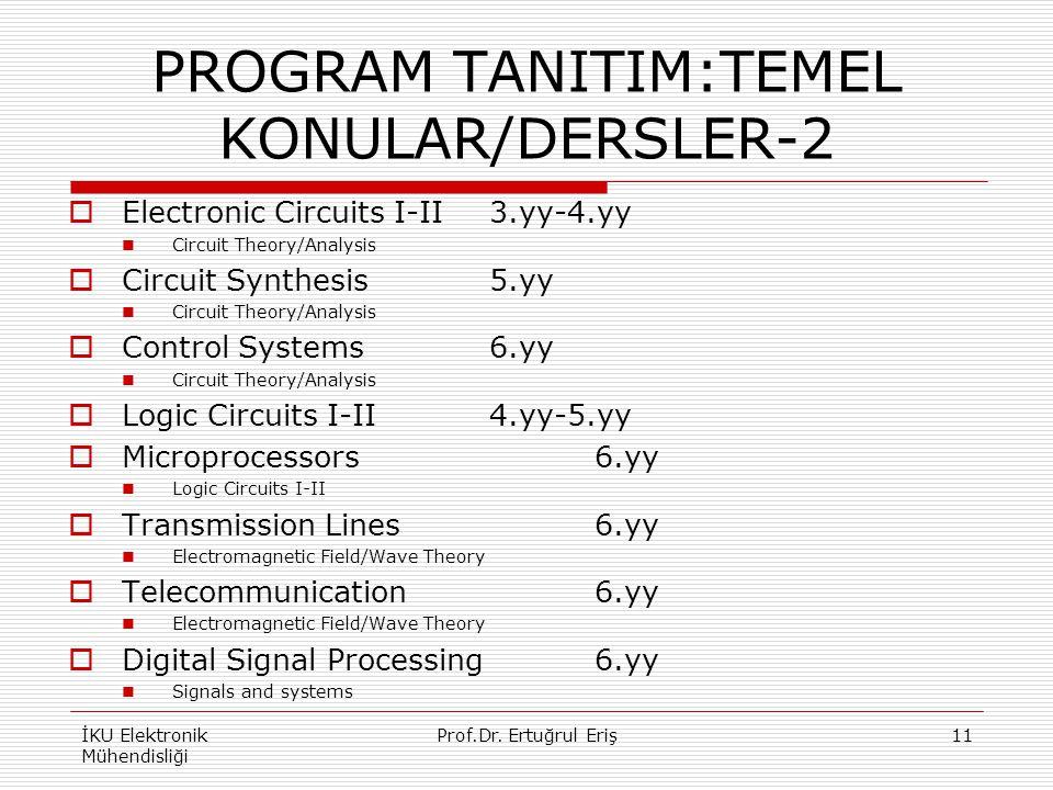 PROGRAM TANITIM:TEMEL KONULAR/DERSLER-2  Electronic Circuits I-II3.yy-4.yy Circuit Theory/Analysis  Circuit Synthesis5.yy Circuit Theory/Analysis 