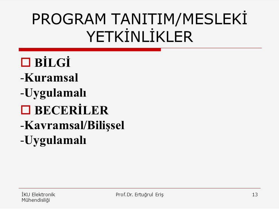 PROGRAM TANITIM/MESLEKİ YETKİNLİKLER  BİLGİ -Kuramsal -Uygulamalı  BECERİLER -Kavramsal/Bilişsel -Uygulamalı İKU Elektronik Mühendisliği 13Prof.Dr.