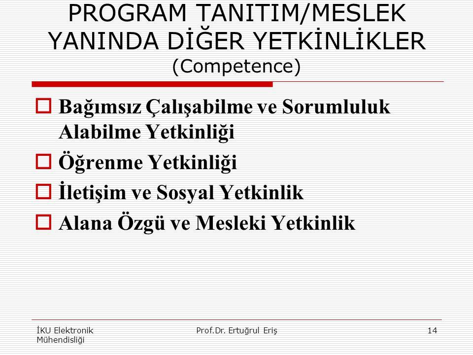 PROGRAM TANITIM/MESLEK YANINDA DİĞER YETKİNLİKLER (Competence)  Bağımsız Çalışabilme ve Sorumluluk Alabilme Yetkinliği  Öğrenme Yetkinliği  İletişim ve Sosyal Yetkinlik  Alana Özgü ve Mesleki Yetkinlik İKU Elektronik Mühendisliği 14Prof.Dr.