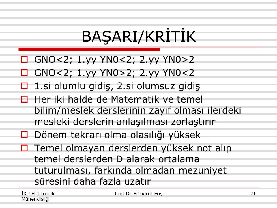 BAŞARI/KRİTİK  GNO 2  GNO 2; 2.yy YN0<2  1.si olumlu gidiş, 2.si olumsuz gidiş  Her iki halde de Matematik ve temel bilim/meslek derslerinin zayıf olması ilerdeki mesleki derslerin anlaşılması zorlaştırır  Dönem tekrarı olma olasılığı yüksek  Temel olmayan derslerden yüksek not alıp temel derslerden D alarak ortalama tuturulması, farkında olmadan mezuniyet süresini daha fazla uzatır İKU Elektronik Mühendisliği 21Prof.Dr.