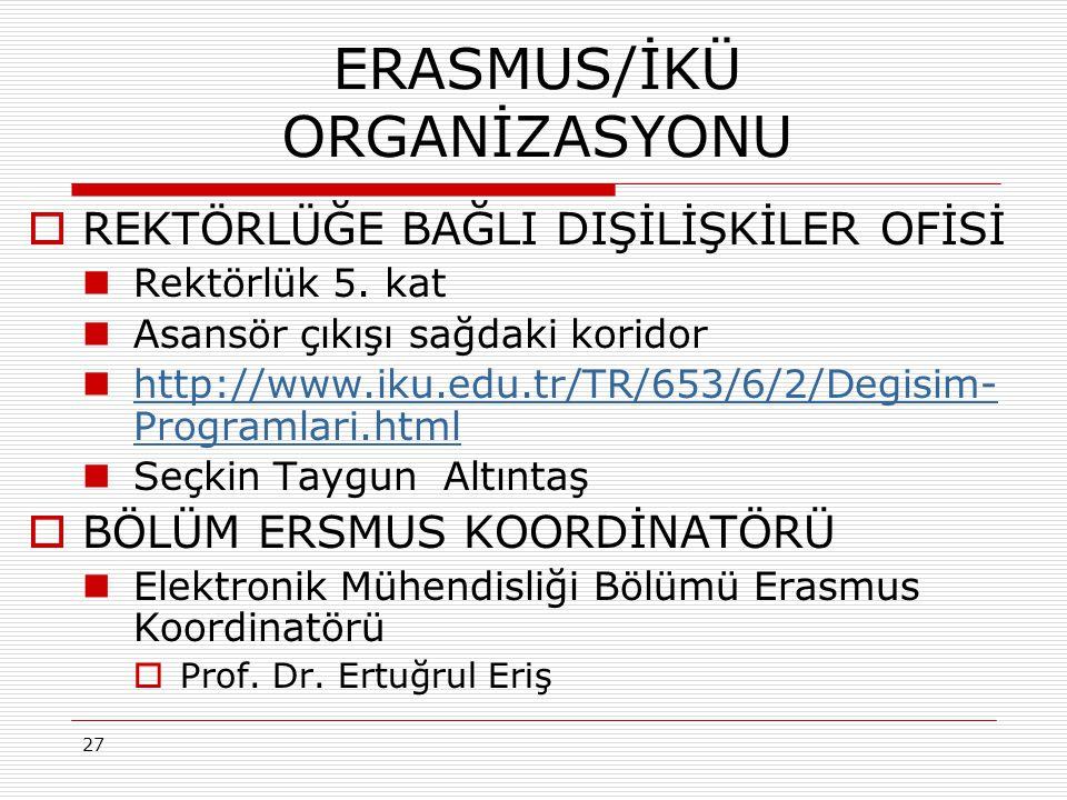 27 ERASMUS/İKÜ ORGANİZASYONU  REKTÖRLÜĞE BAĞLI DIŞİLİŞKİLER OFİSİ Rektörlük 5.