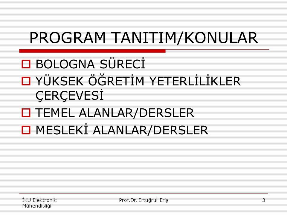 PROGRAM TANITIM/KONULAR  BOLOGNA SÜRECİ  YÜKSEK ÖĞRETİM YETERLİLİKLER ÇERÇEVESİ  TEMEL ALANLAR/DERSLER  MESLEKİ ALANLAR/DERSLER İKU Elektronik Mühendisliği 3Prof.Dr.