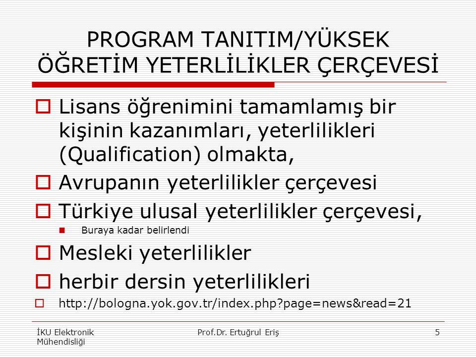 PROGRAM TANITIM/YÜKSEK ÖĞRETİM YETERLİLİKLER ÇERÇEVESİ  Lisans öğrenimini tamamlamış bir kişinin kazanımları, yeterlilikleri (Qualification) olmakta,  Avrupanın yeterlilikler çerçevesi  Türkiye ulusal yeterlilikler çerçevesi, Buraya kadar belirlendi  Mesleki yeterlilikler  herbir dersin yeterlilikleri  http://bologna.yok.gov.tr/index.php?page=news&read=21 İKU Elektronik Mühendisliği 5Prof.Dr.
