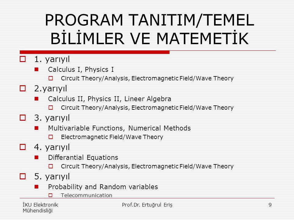 PROGRAM TANITIM/TEMEL BİLİMLER VE MATEMETİK  1. yarıyıl Calculus I, Physics I  Circuit Theory/Analysis, Electromagnetic Field/Wave Theory  2.yarıyı