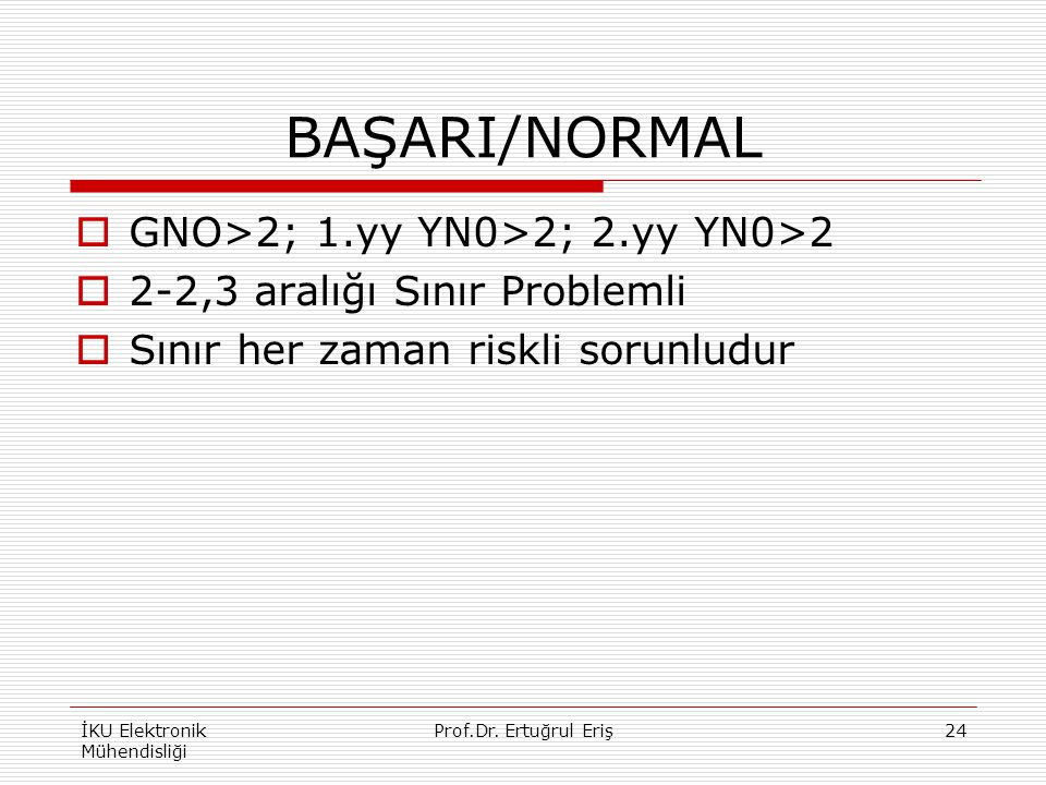 BAŞARI/NORMAL  GNO>2; 1.yy YN0>2; 2.yy YN0>2  2-2,3 aralığı Sınır Problemli  Sınır her zaman riskli sorunludur İKU Elektronik Mühendisliği 24Prof.D