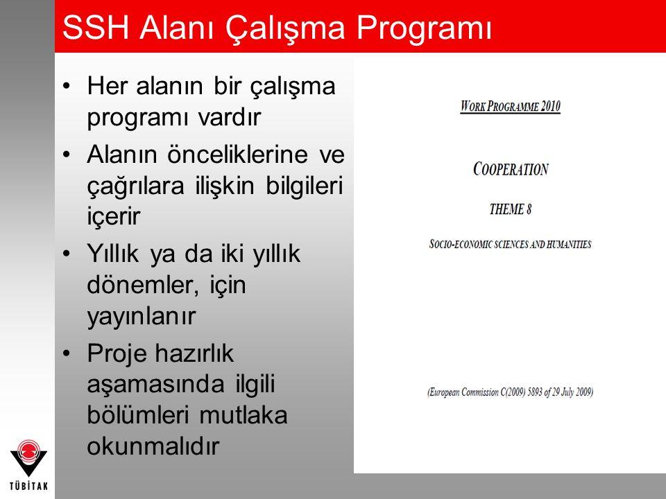 SSH Alanı Çalışma Programı Her alanın bir çalışma programı vardır Alanın önceliklerine ve çağrılara ilişkin bilgileri içerir Yıllık ya da iki yıllık dönemler, için yayınlanır Proje hazırlık aşamasında ilgili bölümleri mutlaka okunmalıdır