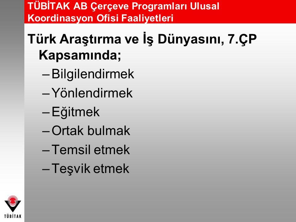 TÜBİTAK AB Çerçeve Programları Ulusal Koordinasyon Ofisi Faaliyetleri Türk Araştırma ve İş Dünyasını, 7.ÇP Kapsamında; –Bilgilendirmek –Yönlendirmek –