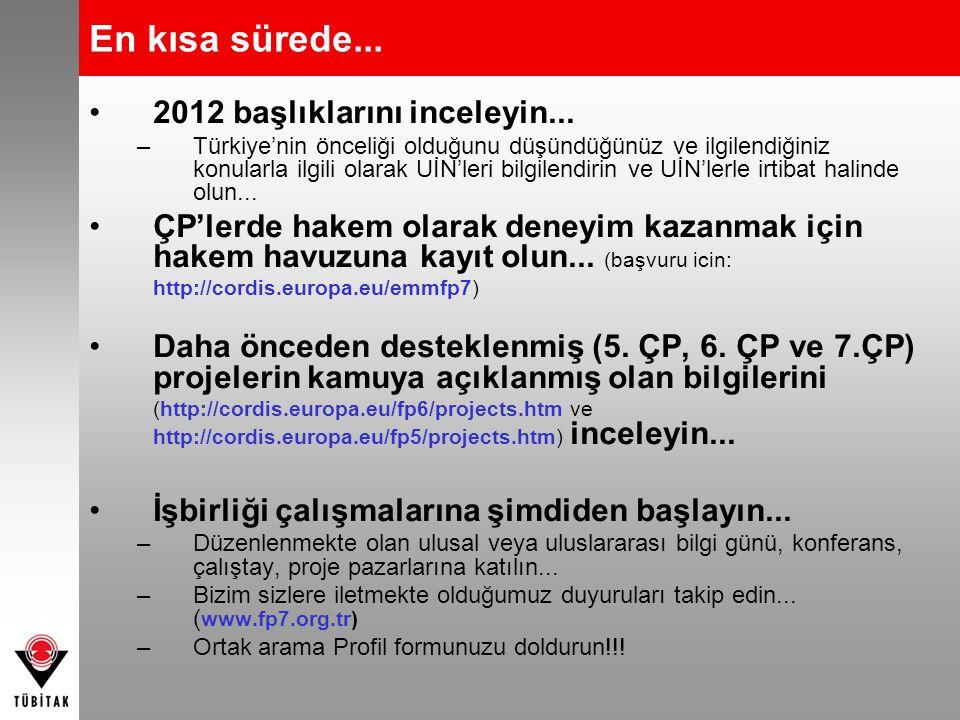En kısa sürede... 2012 başlıklarını inceleyin... –Türkiye'nin önceliği olduğunu düşündüğünüz ve ilgilendiğiniz konularla ilgili olarak UİN'leri bilgil