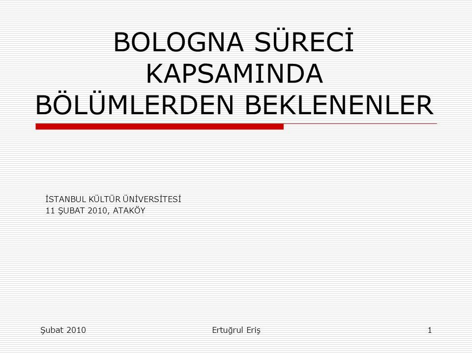 BOLOGNA SÜRECİ KAPSAMINDA BÖLÜMLERDEN BEKLENENLER İSTANBUL KÜLTÜR ÜNİVERSİTESİ 11 ŞUBAT 2010, ATAKÖY Ertuğrul ErişŞubat 20101