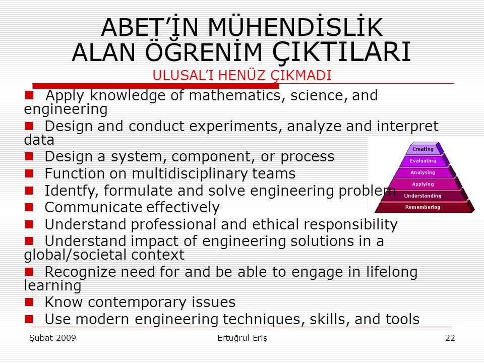 22 ABET'İN MÜHENDİSLİK ALAN ÖĞRENİM ÇIKTILARI ULUSAL'I HENÜZ ÇIKMADI Apply knowledge of mathematics, science, and engineering Design and conduct experiments, analyze and interpret data Design a system, component, or process Function on multidisciplinary teams Identfy, formulate and solve engineering problem Communicate effectively Understand professional and ethical responsibility Understand impact of engineering solutions in a global/societal context Recognize need for and be able to engage in lifelong learning Know contemporary issues Use modern engineering techniques, skills, and tools Şubat 2009Ertuğrul Eriş