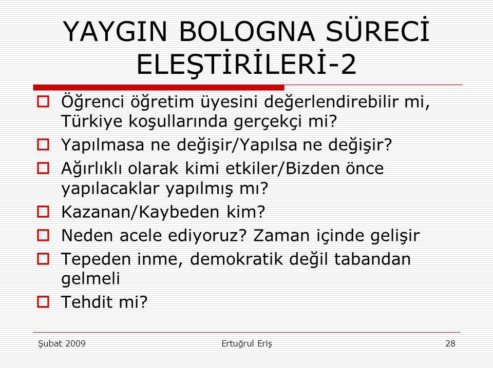 YAYGIN BOLOGNA SÜRECİ ELEŞTİRİLERİ-2  Öğrenci öğretim üyesini değerlendirebilir mi, Türkiye koşullarında gerçekçi mi?  Yapılmasa ne değişir/Yapılsa