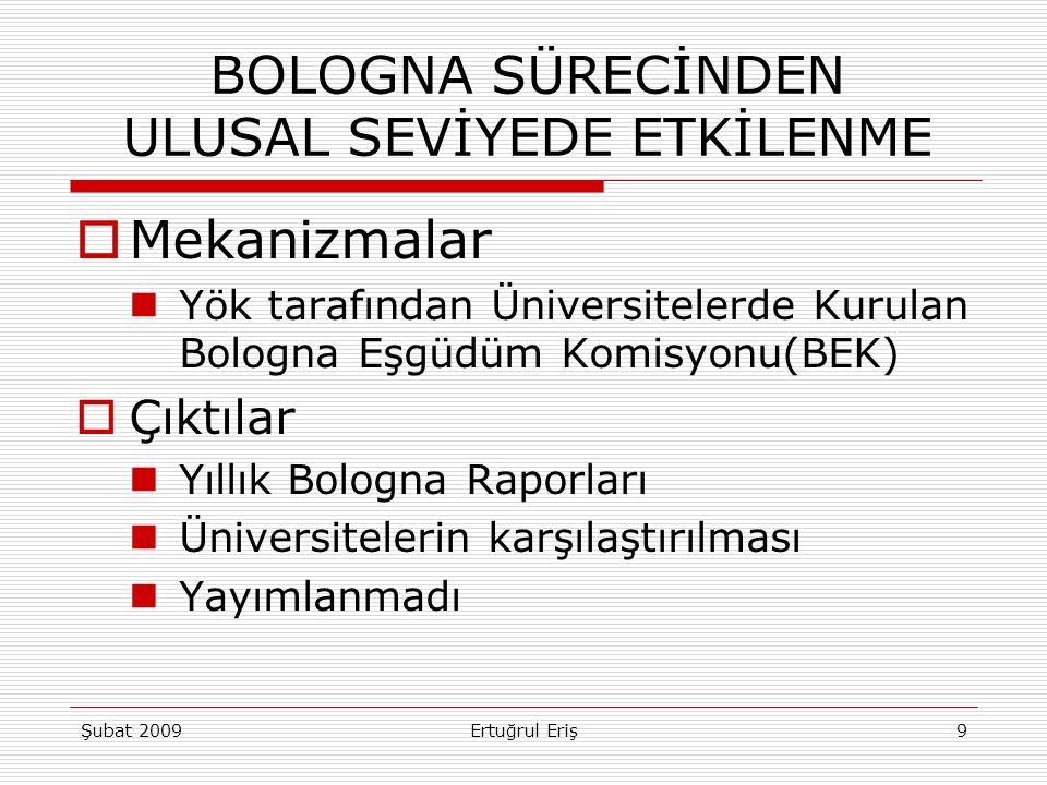  Mekanizmalar Yök tarafından Üniversitelerde Kurulan Bologna Eşgüdüm Komisyonu(BEK)  Çıktılar Yıllık Bologna Raporları Üniversitelerin karşılaştırıl