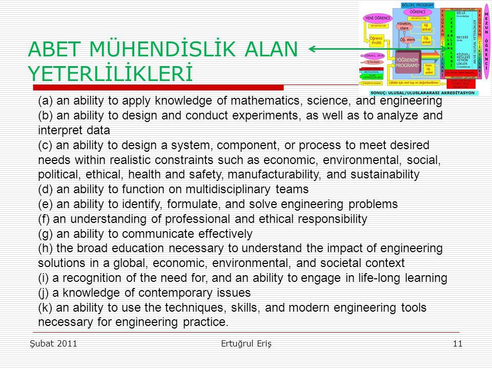 ABET MÜHENDİSLİK ALAN YETERLİLİKLERİ Şubat 2011Ertuğrul Eriş11 (a) an ability to apply knowledge of mathematics, science, and engineering (b) an abili