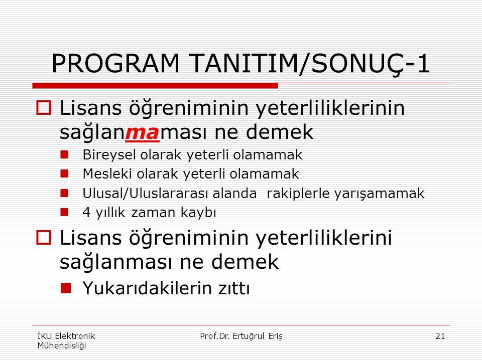 PROGRAM TANITIM/SONUÇ-1  Lisans öğreniminin yeterliliklerinin sağlanmaması ne demek Bireysel olarak yeterli olamamak Mesleki olarak yeterli olamamak