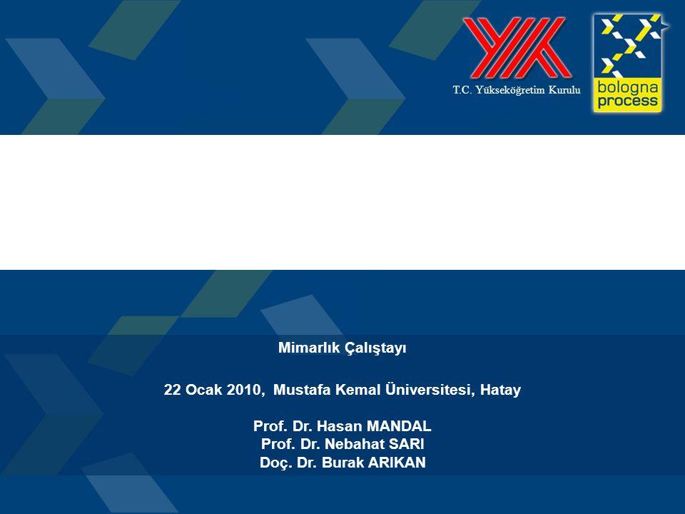 1 T.C. Yükseköğretim Kurulu Mimarlık Çalıştayı 22 Ocak 2010, Mustafa Kemal Üniversitesi, Hatay Prof. Dr. Hasan MANDAL Prof. Dr. Nebahat SARI Doç. Dr.