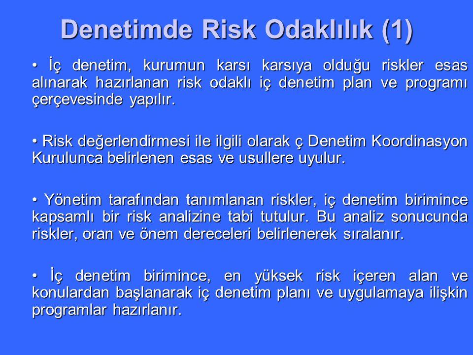 Denetimde Risk Odaklılık (1) İç denetim, kurumun karsı karsıya olduğu riskler esas alınarak hazırlanan risk odaklı iç denetim plan ve programı çerçeve