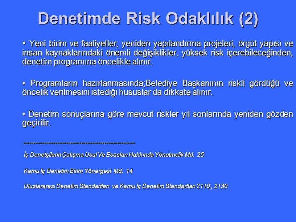 Denetimde Risk Odaklılık (2) Yeni birim ve faaliyetler, yeniden yapılandırma projeleri, örgüt yapısı ve insan kaynaklarındaki önemli değişiklikler, yü